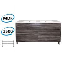 1500x460x850mm Bathroom Floor Vanity Freestanding Dark Grey Wood Grain PVC Filmed Cabinet ONLY & Double Bowls Ceramic Top Available