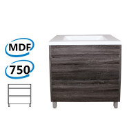 750x460x850mm Bathroom Floor Vanity Freestanding Dark Grey Wood Grain PVC Filmed Cabinet ONLY & Ceramic / Poly Top Available