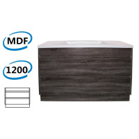 1200x460x850mm Bathroom Vanity Freestanding Kick board Dark Grey Wood Grain PVC Filmed Cabinet ONLY & Ceramic/Poly Top Available