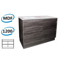 1200x460x850mm Bathroom Floor Vanity Freestanding Kick board Dark Grey Wood Grain PVC Filmed Cabinet ONLY & Double Bowls Ceramic Top Available
