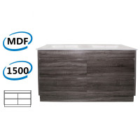 1500x460x850mm Bathroom Floor Vanity Freestanding Dark Grey Wood Grain PVC Filmed Kick-board Cabinet ONLY & Double Bowls Ceramic Top Available