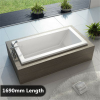 1690x780x450mm Square Drop in Bathtub Acrylic Gloss White Built in Bath tub Shower Bath
