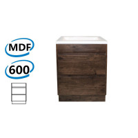 600x460x850mm Bathroom Floor Vanity Freestanding Dark Oak Wood Grain PVC Filmed Kick-board Cabinet ONLY & Ceramic / Poly Top Available