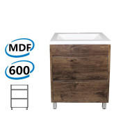 600x460x850mm Bathroom Floor Vanity Freestanding Dark Oak Wood Grain PVC Filmed Cabinet ONLY & Ceramic / Poly Top Available