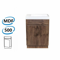 500x250x850mm Bathroom Vanity Dark Oak Wood Grain Cabinet Poly Top Kickboard Freestanding PVC Filmed Floor Mini