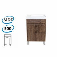 500x250x830mm Bathroom Vanity Dark Oak Cabinet Poly Top Freestanding PVC Filmed Floor Mini Narrow