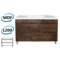 1200x460x850mm Bathroom Floor Vanity Freestanding Dark Oak Wood Grain PVC Filmed Cabinet ONLY & Ceramic / Poly Top Available