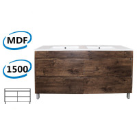 1500x460x850mm Bathroom Vanity Freestanding Dark Oak PVC Filmed Floor Cabinet ONLY & Double Bowls Ceramic Top Available