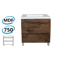 750x460x850mm Bathroom Floor Vanity Freestanding Dark Oak Wood Grain PVC Filmed Cabinet ONLY & Ceramic / Poly Top Available