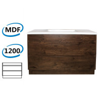 1200x460x850mm Bathroom Floor Vanity Freestanding Dark Oak Wood Grain PVC Filmed Kick-board Cabinet ONLY & Ceramic / Poly Top Available