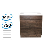 750x460x850mm Bathroom Floor Vanity Freestanding Dark Oak Wood Grain PVC Filmed Kick-board Cabinet ONLY & Ceramic / Poly Top Available