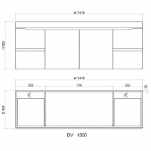 1500mm Dark Timber Wall Hung Bathroom Vanity Curved Edge Doors and Drawers Cabinet Only