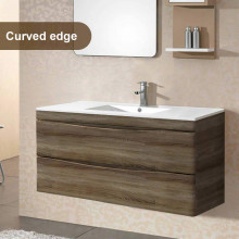 1200mm Dark Timber Wall Hung Bathroom Vanity Curved Edge Drawers Cabinet Only