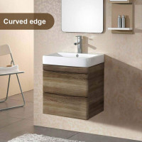 600mm Wall Hung Bathroom Vanity Curved Edge Drawers Dark Timber Cabinet Only