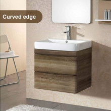 750mm Wall Hung Bathroom Vanity Curved Edge Drawers Dark Timber Cabinet Only