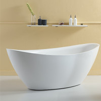 1660x780x665mm Evie Oval Bathtub Freestanding Acrylic Gloss White Bath tub NO Overflow
