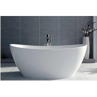 1500x750x680mm Evie Oval Bathtub Freestanding Acrylic Gloss White Bath tub NO Overflow