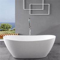 1500x750x680mm Evie Oval Bathtub Freestanding Acrylic Matt White Bath tub NO Overflow