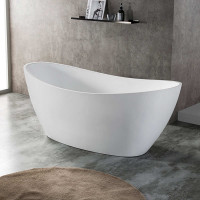 1660x780x680mm Evie Oval Bathtub Freestanding Acrylic Matt White Bath tub NO Overflow