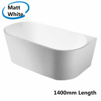 1400x730x580mm Elivia Bathtub Back to Wall Acrylic Matt White Bath tub NO Overflow