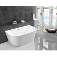 1490x745x605mm Elivia Overflow Bathtub Back to Wall Acrylic GLOSSY White Bath tub