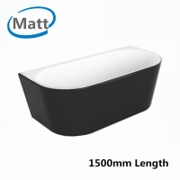 1500x750x580mm Elivia Matt Black & Matt White Back to Wall Freestanding Bathtub Acrylic NO Overflow