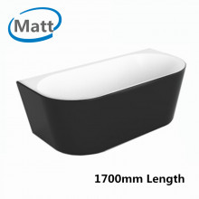 1700x800x580mm Elivia Matt Black & Matt White Back to Wall Freestanding Bathtub Acrylic NO Overflow