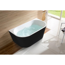 1400x730x580mm Elivia Bathtub Back to Wall Freestanding Acrylic Matt Black & Matt White Bath tub NO Overflow