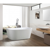 1700x800x580mm Elivia Bathtub Back to Wall Acrylic MATT White Bath tub NO Overflow