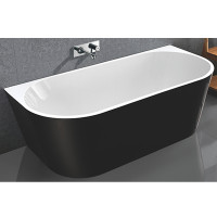 1500x750x580mm Elivia Gloss Black & Gloss White Back to Wall Bathtub Acrylic NO Overflow