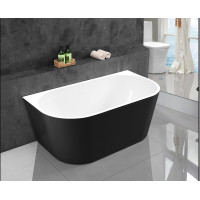 1700x800x580mm Elivia Gloss Black & Gloss White Back to Wall Bathtub Acrylic NO Overflow