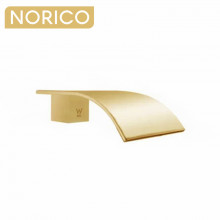 Norico Esperia Brushed Gold Solid Brass Waterfall Wall Spout for bathtub and basin
