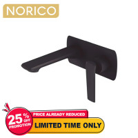 Norico Esperia Black Solid Brass Wall Mixer with Spout for bathtubs