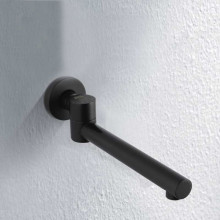 Euro Matt Black Solid Brass Round Wall Spout with 180 Swivel for bathroom