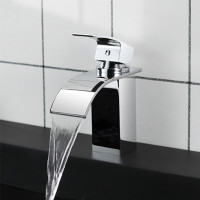 Omar Square Solid Brass Chrome Waterfall Basin Mixer Bathroom Vanity Tap