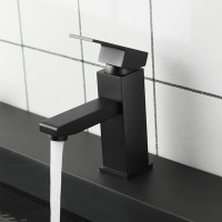 Ottimo Solid Brass Square Black Basin Mixer Tap Bathroom Vanity Tap