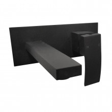 Omar Black Bathtub/Basin Wall Mixer With Spout Wall Mounted