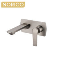 Norico Esperia Brushed Nickel Solid Brass Wall Mixer with Spout for bathtubs