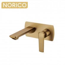Norico Esperia Brushed Yellow Gold Solid Brass Wall Mixer with Spout for bathtubs