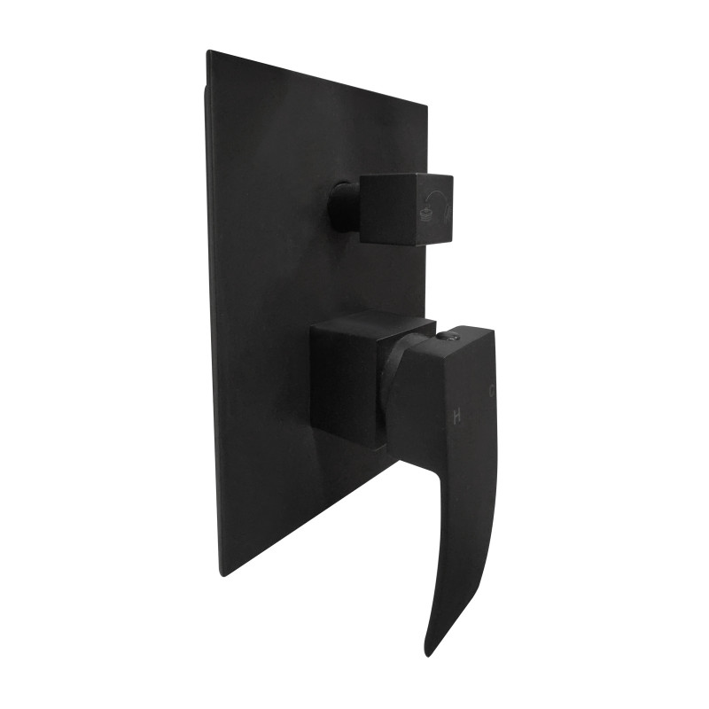 Omar Black Bath/Shower Mixer with Diverter Wall Mounted FA0115B-C-H2