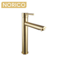 Norico Round Solid Brass Brushed Yellow Gold Tall Basin Mixer Bathroom Vanity Tap