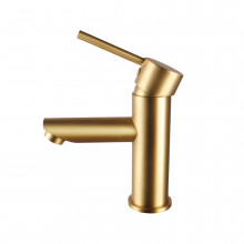 Norico Round Solid Brass Brushed Yellow Gold Basin Mixer Tap Bathroom Vanity Tap