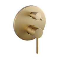 Norico Round Brushed Yellow Gold Shower/Bath Mixer with Diverter Wall Mounted