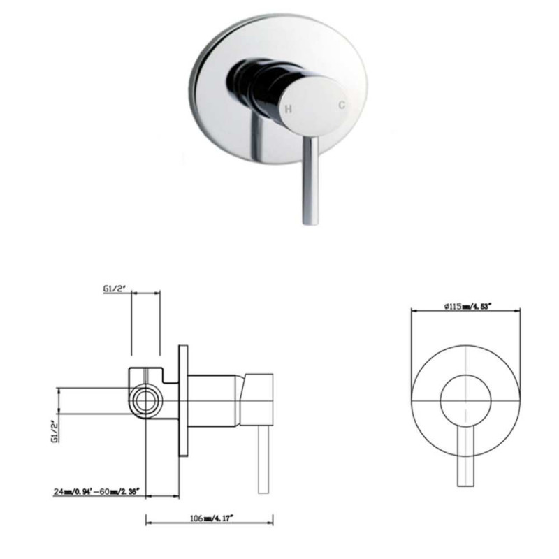 Round Chrome Twin Shower SS2152-N+SS0119+HHS-R4