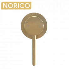 Norico Round Brushed Yellow Gold Shower/Bath Wall Mixer Solid Brass