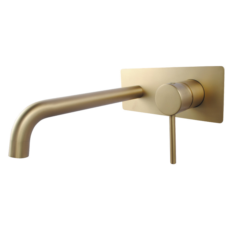 round brushed yellow gold bathtub/basin wall mixer with spout solid brass WMT44.04