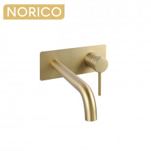 Norico Round Brushed Yellow Gold Bathtub Spout Basin Spout Wall Mixer With Spout Solid Brass Water Spout
