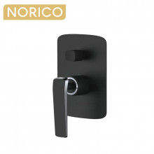 Norico Esperia Chrome & Matt Black Solid Brass Wall Mounted Mixer with Diverter for shower and bathtub