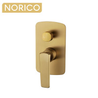 Norico Esperia Brushed Yellow Gold Solid Brass Wall Mounted Mixer with Diverter for shower and bathtub