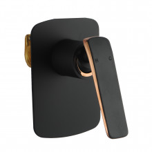 Norico Esperia Matt Black & Rose Gold Shower/Bath Wall Mixer Solid Brass Wall Mounted